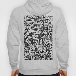 Hand Drawing Graffiti Creatures in the Summer Afternoon Black and White Hoody