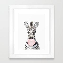 Bubble Gum Zebra Framed Art Print