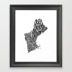 Typographic New England Framed Art Print