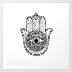 Hamsa white Art Print