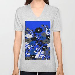 SUNFLOWER TRELLIS BLUE BLACK GRAY AND WHITE TOILE Unisex V-Neck