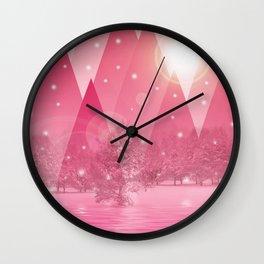 Magic winter pink Wall Clock