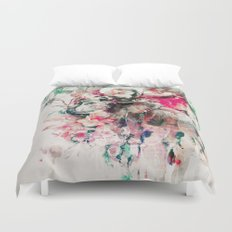 Watercolor Elephant and Flowers Duvet Cover