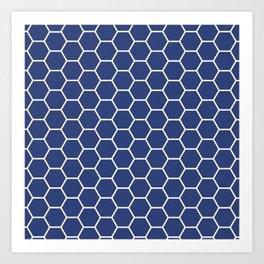 Blue honeycomb geometric pattern Art Print