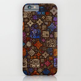 Mayan glyphs and ornaments pattern #3 iPhone Case