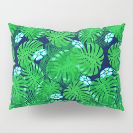 Tropical Palm Leaf Pattern With Blue Flowers Pillow Sham
