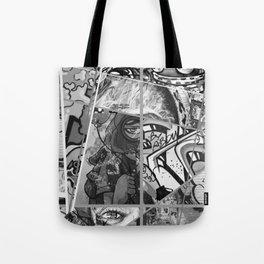 Crazy Graffiti - Black and White Abstract Comic Strip Street Pop Art Tote Bag