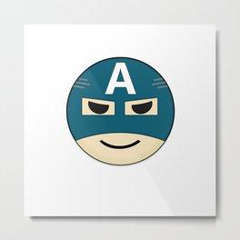 Captian A Emoji Metal Print