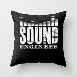 Sound Engineer Lettering Audio Mixer Music Throw Pillow