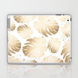 Gold Monstera Leaves Laptop & iPad Skin