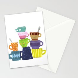Coffee And Tea Cups And Mugs Stacked High Stationery Cards