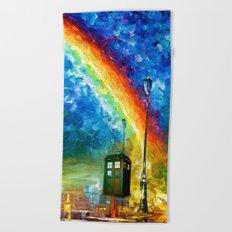 TARDIS WITH RAINBOW Beach Towel