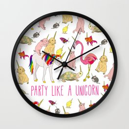 Party Like A Unicorn Wall Clock