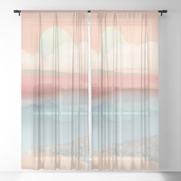 Mint Moon Beach Sheer Curtain
