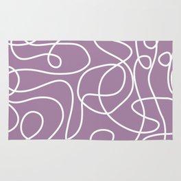 Doodle Line Art   White Lines on Soft Purple Rug