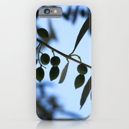 Olive tree branch against clear blue sky iPhone Case