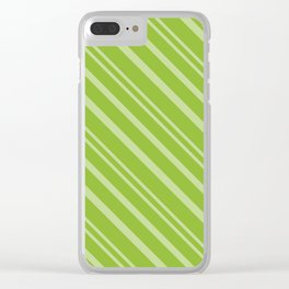 Modern Lime Green Stripey Pattern Clear iPhone Case