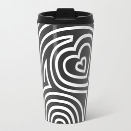 Mola Elephant (Black and White) Travel Mug