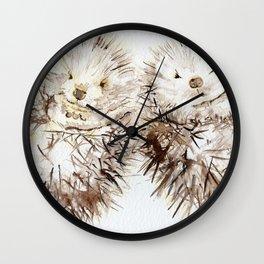 Hedgehog Cuddles Wall Clock