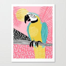 Holy Moly - memphis throwback retro neon bird macaw tropical island pop art bird watching 1980s Canvas Print