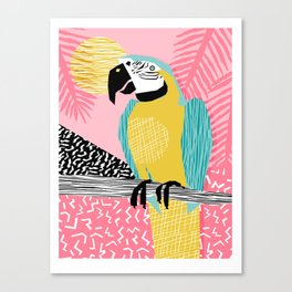 Holy Moly - memphis throwback retro neon bird macaw tropical island pop art bird watching 1980s Canvas Print