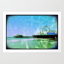 Blue and green Santa Monica Pier Art Print