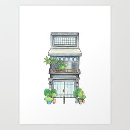 Modern urban house front view, travel sketch from Siem Reap town, Cambodia Art Print