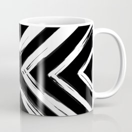 Minimalistic Black and White Paint Brush Triangle Diamond Pattern Coffee Mug
