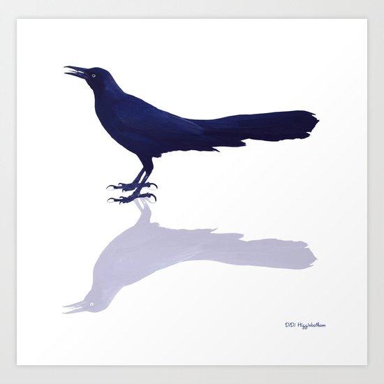 Blackbird Blue   Art Print