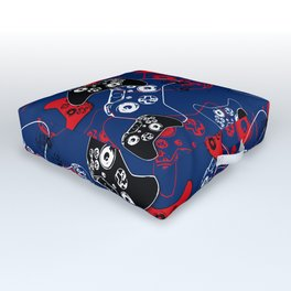 Video Game Red White & Blue 1 Outdoor Floor Cushion