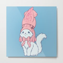 White Cat Wears Squid Hat Metal Print