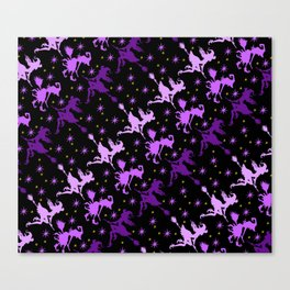 Witches Starry Night Pattern Canvas Print