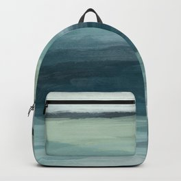 Seafoam Green Mint Navy Blue Abstract Ocean Art Painting Backpack