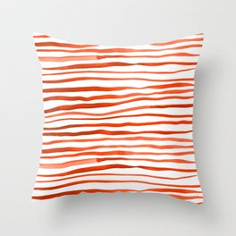Irregular watercolor lines - orange Throw Pillow