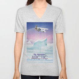 Arctic frozen flight poster. Unisex V-Neck