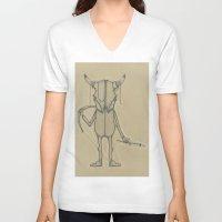 animal skull V-neck T-shirts featuring Bull Skull Guy Spirit Animal by Drawn by Lex