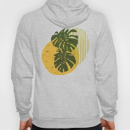 The Two Twin Leaves, Abstract Art Tropical Leaves, Summer Illustration Hoody