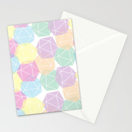Pastel D20 Pattern Dungeons and Dragons Dice Set Stationery Cards
