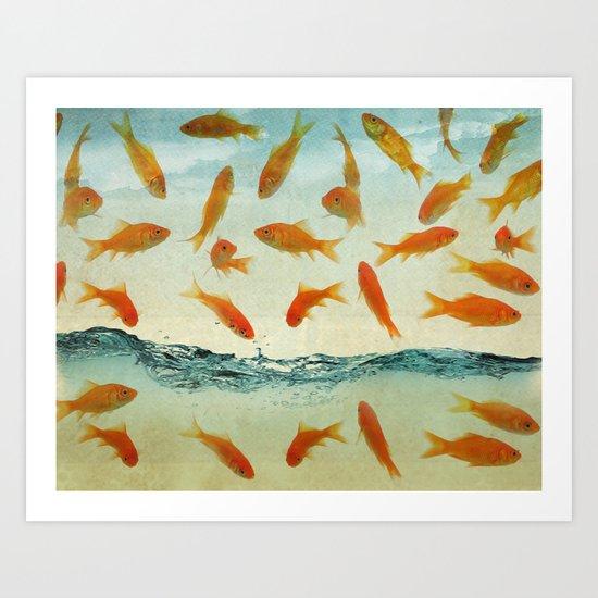 raining gold fish Art Print