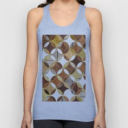 Wood and Gold Geometric Unisex Tank Top