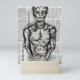 Strategy - Charcoal on Newspaper Figure Drawing Mini Art Print