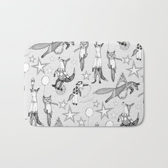 foxy circus black white Bath Mat