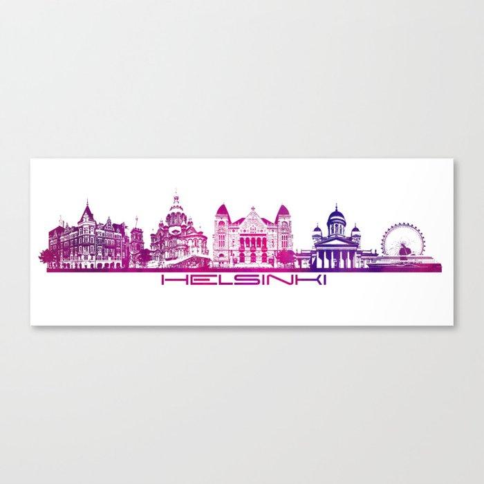 Helsinki skyline purple Canvas Print