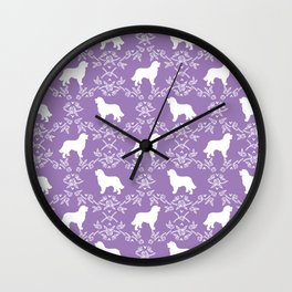 Bernese Mountain Dog florals dog pattern minimal cute gifts for dog lover silhouette Wall Clock