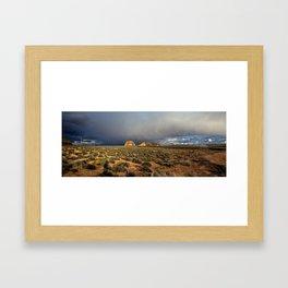 Winter storm on the mesa Framed Art Print