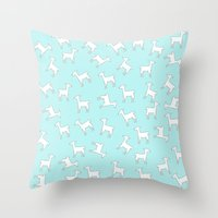 lama Throw Pillows featuring Lama Lama Lama by Monika Strigel