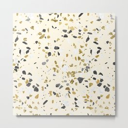Glitter and Grit Yellow Gold Marble Metal Print