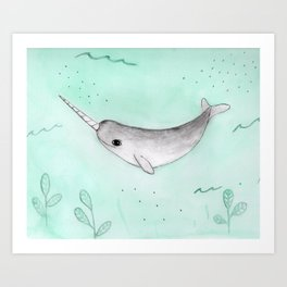 Narwhal in a sea of green Art Print
