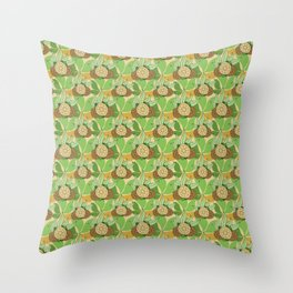 On a beige background are green stylized leaves with abstract fruits of beige-brown color. Throw Pillow