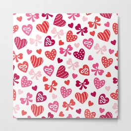 Valentine Hearts and Red Bows Metal Print